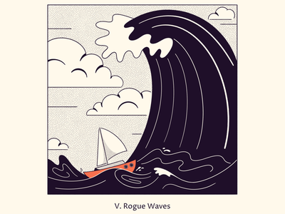 Rogue Waves simple line drawing black and white illustration inktober creepy scary boat rogue wave water wave