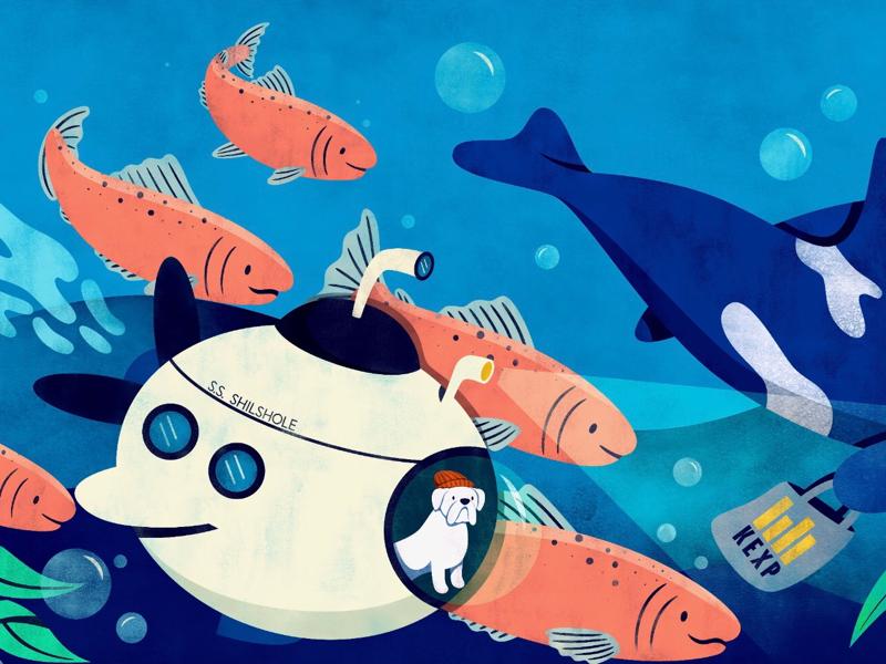 Submarine Dog salmon childrens illustration sea captain boxer dog experiential target illustration seattle ocean cute mural design mural submarine