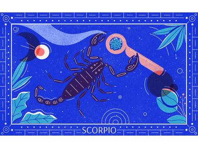 Scorpio geometric line art leaves marijuana zodiac illustration procreate texture scorpion astrology scorpio