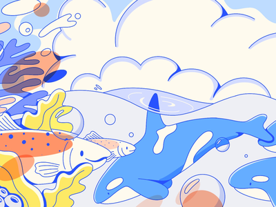 Puget Sound flat illustration clouds salmon illustration cute line art line drawing ocean water whale orca fish