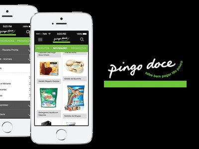 Pingo Doce - App Concept shopping app pingo doce green products mobile categories list search menu ios
