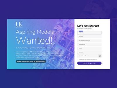 UKModels - Landing Page gradient form teen model lead generation landing page models
