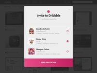 Dribbble Invitation Modal