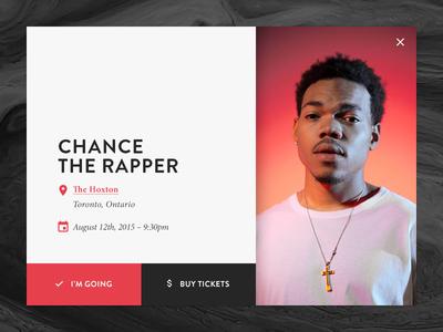 Event Box chance the rapper ticket details flat event ui