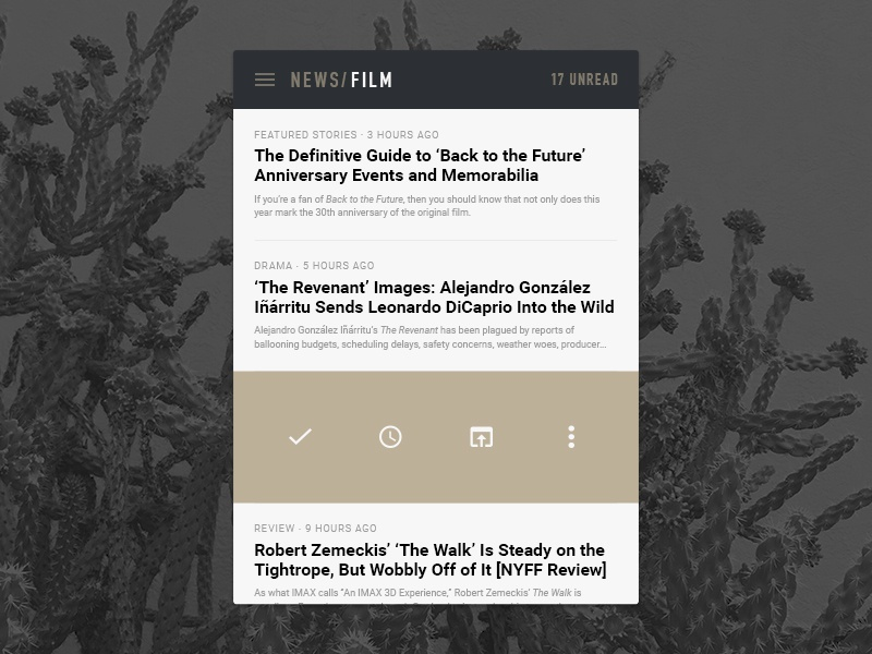 Newsfeed UI flat android reader latest rss news ui