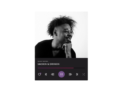 Radio Card itunes rdio spotify play danny brown music radio flat ui