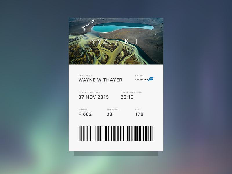 Boarding Pass airline iceland boarding pass flight card ui