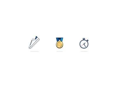 Fitness Icons coin stan smith stopwatch timer watch medal shoe fitness app vector illustration icon