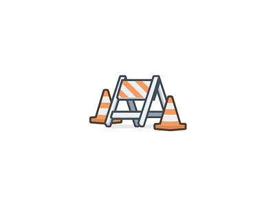 Under Construction 90s gif broken traffic pylon flat icon illustration under construction
