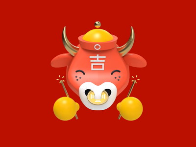 Lucky Ox bull luck blessing wealth festive fireworks chinese ox lunar new year chinese new year icon 3d animation c4d 3d revolut