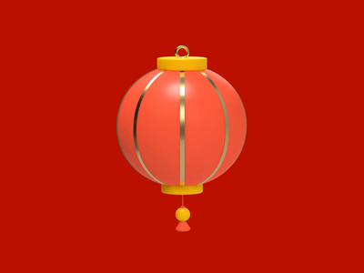 Red Lantern icon light celebration blessings chinese lunar new year chinese new year festive lantern 3d animation cinema4d c4d 3d revolut