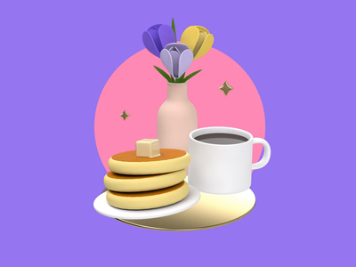 Breakfast in bed cute sweet morning mummy mothers day springtime flowers coffee pancakes breakfast spring c4d 3d animation 3d revolut