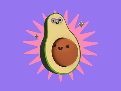 Avocado love hug parenting glasses icon cute motherhood mother mothers day mom avocado character illustration c4d 3d animation 3d revolut