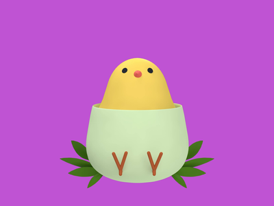 Causality Dilemma occasion animal bird cute chicken chick egg easter icon revolut character illustration c4d 3d animation 3d