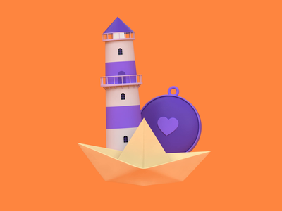 Father's Day - You Navigate Me navigation dad lighthouse compass illustration c4d 3d animation 3d revolut