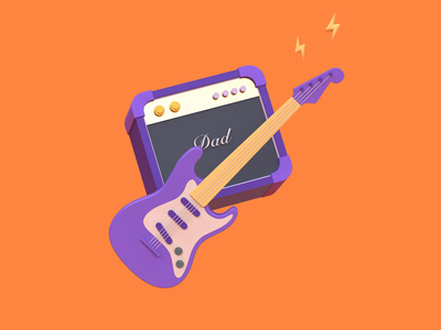 Father's Day - You rock fender dad song cabinet amplifier sound guitar amp marshall music rock illustration c4d 3d animation 3d revolut