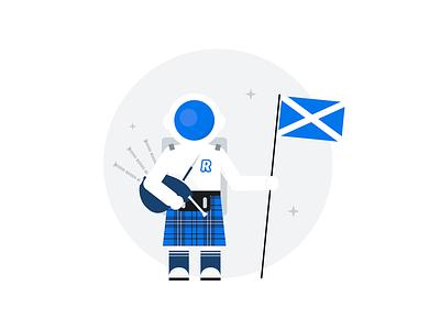 Scottish Guy revolut astronaut spaceman launching tartan bagpipes kilt scotland