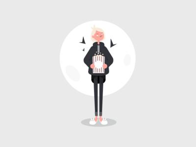 Scary movies night 📽🍿 illustration flat 2d moon girl art character pop corn scary movie halloween