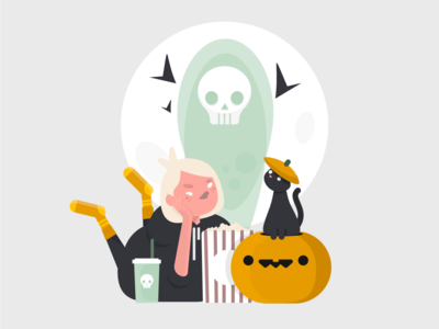 With my Boo🐈 doodle witch home socks practice scary movie pop corn pumpkin cat character halloween