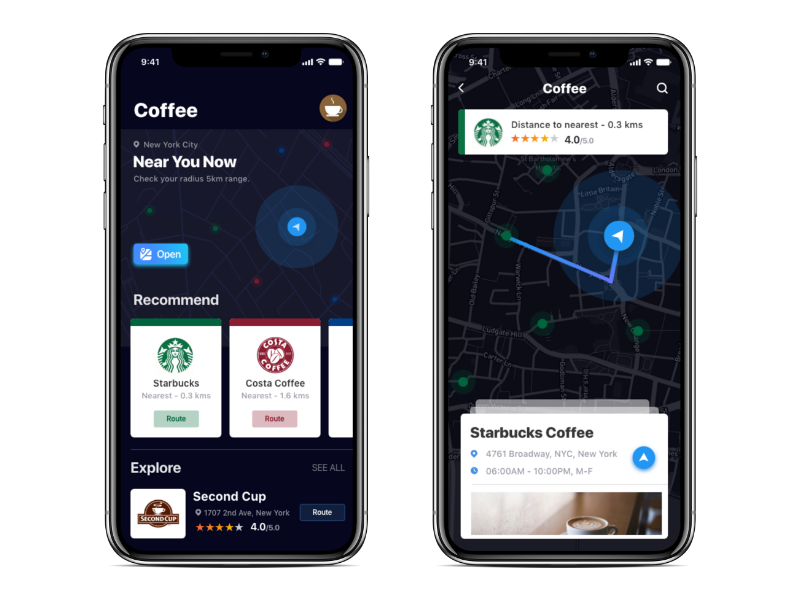 Interactive Map starbucks adobexd map