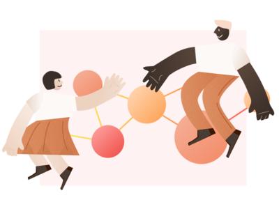 Linking the community ux branding sketch vector design illustration 2d