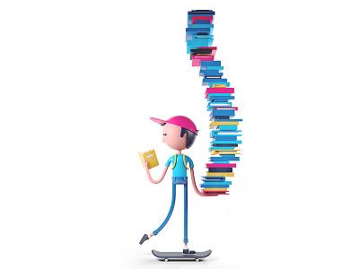 Book Boy character design 3d