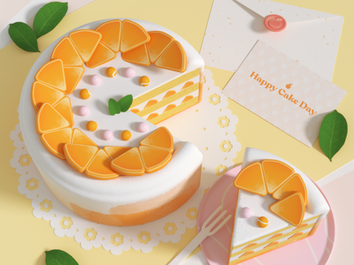 Happy Cake Day 🍰 birthday cinema4d food cake illustration design c4d 3d