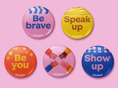 Swag design pins swag inclusion diversity event branding buttons type typography design branding illustration