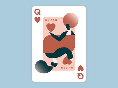 WAZZZZZ, queen postcard cards queen of hearts playing cards queen women illustration design branding