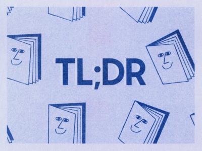 TL;DR blog header tldr books book graphic risography risograph blog branding design illustration
