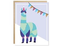 Pawty Animal Blue Llama Greeting Card