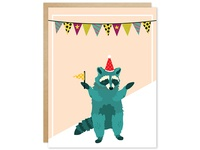 Pawty Animal Green Raccoon Greeting Card
