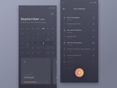 River clean statistics iphone x dark app calendar app schedule task card time calendar timeline
