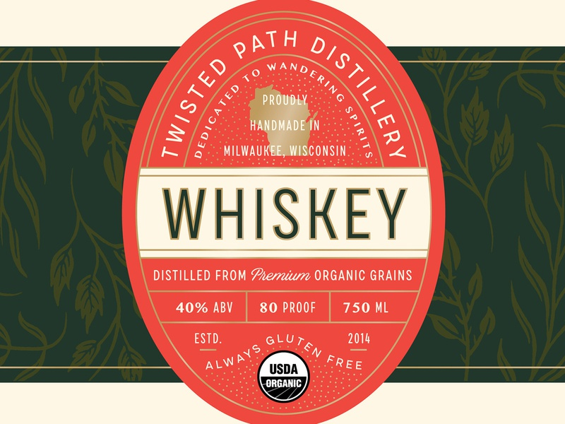 Twisted Path Distillery Label Design badge wisconsin lettering typography packaging label label design spirits alcohol