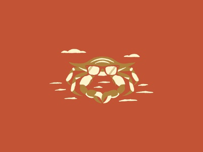Cool Crabby Daddy rayban sunglasses beach illustration crab