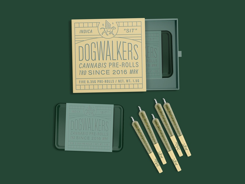 Dogwalkers Cannabis Pre-Rolls Concept box tin packaging dogs joint weed pre-rolls cannabis concept