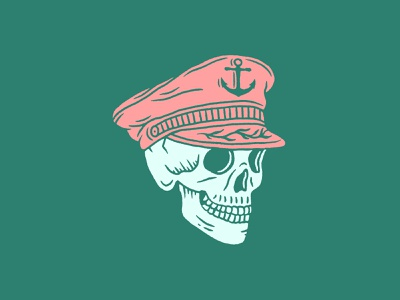 Sailor skeleton hat illustration shipwreck nautical anchor skull sailor