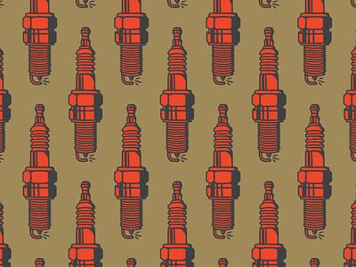 spark plug auto cars illustration pattern spark plug