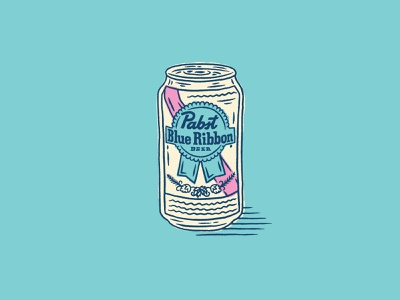 Pabst Blue Ribbon Beer milwaukee can illustration blue ribbon beer pabst