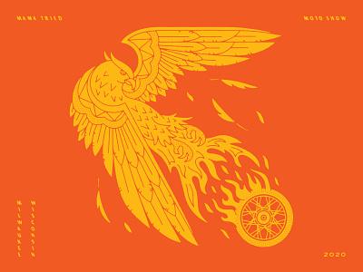 Mama Tried Motorcycle Show moto milwaukee mama tried motorcyle tire bird illustration phoenix