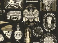 UniversalTechnicalInstitute Illustrations pennant flag steam rope hand skull truck