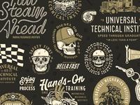 UniversalTechnicalInstitute Illustrations illustration pennant trucker hat diesel utv atv hand marine nautical rope flag motorcycle truck