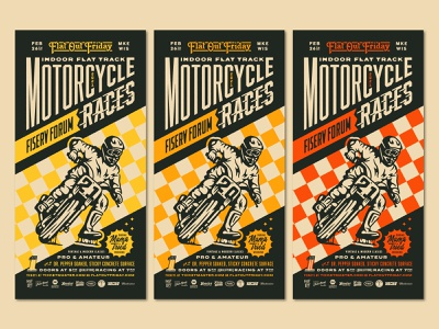 2021 Flat Out Friday Posters flat track racing fiserv forum event milwaukee races motorcycle poster