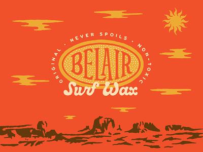 Belair Surf Wax clouds sun dessert surf belair illustration lettering typography