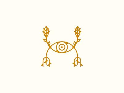 Food Aware root leaf eye illustration icon logo