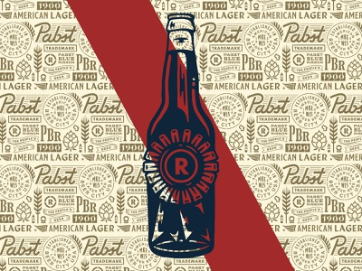 Pabst Painting blue ribbon bottle beer design beer pabst pabst blue ribbon