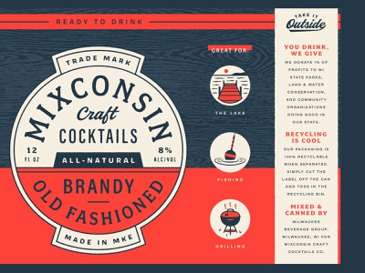 Mixconsin Craft Cocktails label design packaging badge wisconsin lettering typography