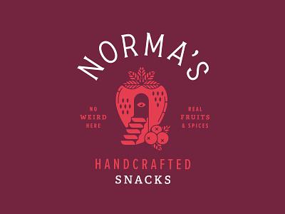 Norma's Berry Hut illustration badge eye berry logo design logo brand identity branding