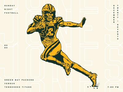 Aaron Jones digital illustration illustration football wisconsin packers