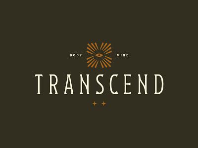 Transcend Club custom type wordmark wellness transcend eye branding logo